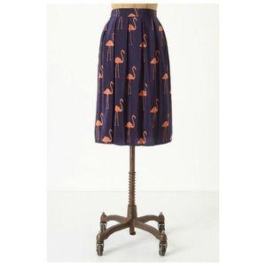 Anthropologie Charlotte Taylor Flamingo Silk Skirt